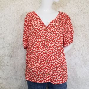 ANTHROPOLOGIE W5 blouse top Large flower print